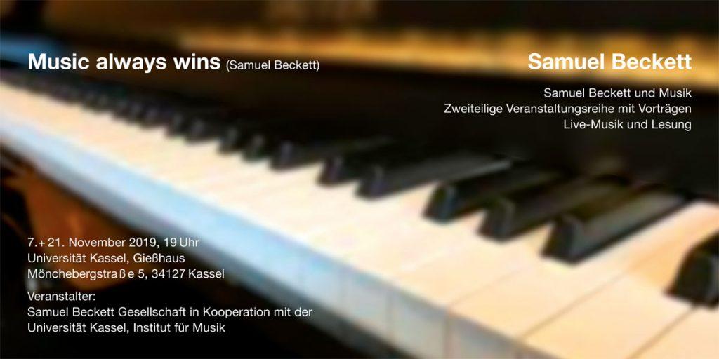 Samuel Beckett und Musik. Veranstaltungsreihe am 7. und 21. November 2019 im Gießhaus der Universität Kassel